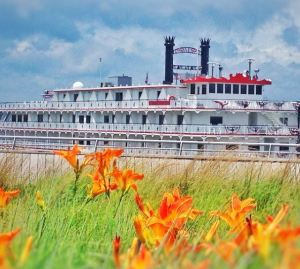 Springtime at the Memphis Beale Street Landing with the American Eagle riverboat.